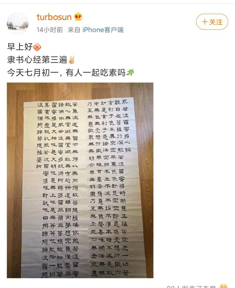 孫(sun)儷曬自yue)渮shou)寫隸書(shu)心經